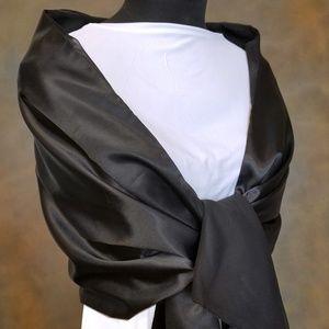 NWT Cejon Black Satin and Chiffon Reversible Wrap